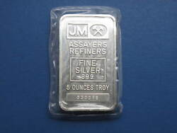 Johnson Matthey 5oz Silver Bullion Bar With Serial Number - Sealed Uncirculated