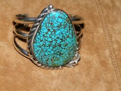 Spiderweb 8 Turquoise Bracelet -- Large Cabochonstone And Sterling Silver