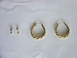 Real Gold Earrings. 2 Pair Lot. Studs. 10k And 14k Gold Jewelry. Will Separate