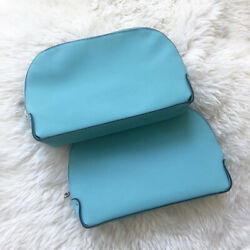 Lot of 2 Lancome Signature Cosmetic Bag Faux Leather Teal Blue GWP New $6.99