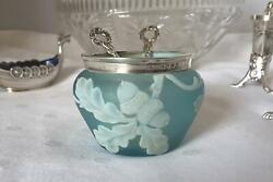 Thomas Webb Cameo Glass Open Salt With Sterling Silver Trim