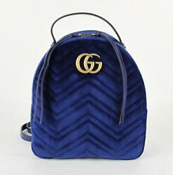 Marmont Blue Quilted Velvet Backpack With Chain/leather Straps 524568 4511