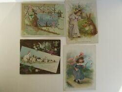 4 Antique Victorian Knapp Co Woolson Spice Lion Coffee Easter Trade Cards