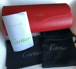 CARTIER Sunglasses Hard Case BOX CASE Red Leather FRANCE Magnetic Closure $24.99