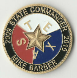 Texas State Commander Vfw Challenge Coin 1.75 Dia Bx3