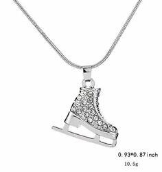 3d Adorable Exquisite Crystal Figure Skate Charm Pendant Necklace For Girls