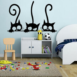 Removable Self Adhesive Bedroom Cats PVC Funny Art Living Room Wall Sticker