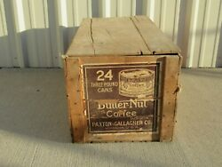 Vintage Butternut Coffee Paper Label Advertising Wooden Crate Box With Lid