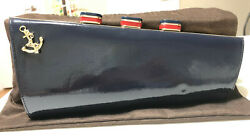 Kate Spade New York All Aboard Cruise ship Patent Clutch Midnight Blue $175.00
