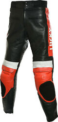 Lucky Strike Sports Red And Black Motorcycle Biker Leather Trouser Pant Jeans