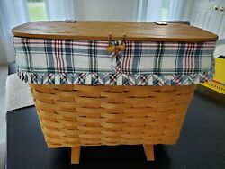 1998 Longaberger Footed Magazine Basket With Plastic Liner, Product Card And Liner