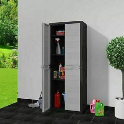 Outdoor Storage Lockable Cabinet Plastic Horizontal Garden Shed Garage Shelves