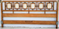 Vintage Mcm King Size Headboard Wood + Brass With Travertine Marble