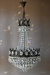 Antique / Vintage Crystal Chandelier, Aged Brass Pendant French Chandelier, Lamp