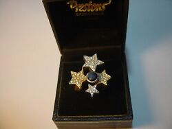 Magnificent-18 Ct Gold Ring-bespoke-unique-blackand White Diamonds Star Ring-n1/2