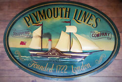 Plymouth Lines Shipping Company Advertising Sign, Hand Painted Wood.