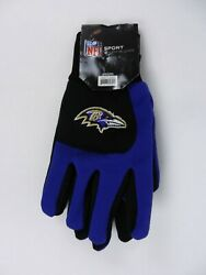 Nfl Sport Utility Gloves Baltimore Ravens Purple Black Forever Collectibles New