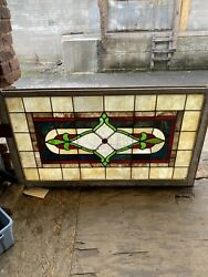 Antique Stained And Leaded And Beveled Glass Window Transom