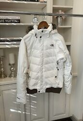 Northface Women's Ski Jacket White With Brown Fur Hood Size M $120.00