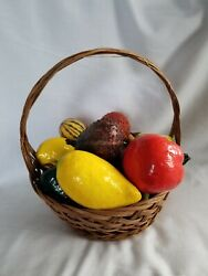 Decorative Basket With Assorted fake Vegetables paper mache