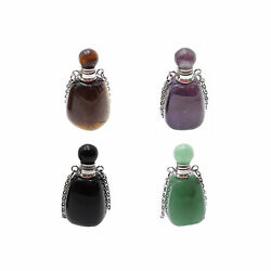Natural Stone Essential Oil Necklace Perfume 18x35 Smooth Bottle And Silver Chain