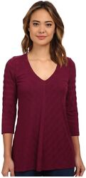 Miraclebody Jeans 240011 Womens Solid V-neck T-shirt Beet Purple Size Small