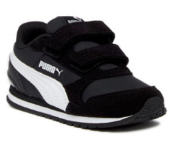 Puma ST Runner V2 Kids Strap Sneaker Toddler Shoes Kids Shoes Kid Black White $23.99