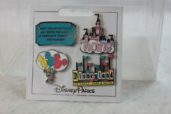 Disney Dlr Disneyland Flair Icons Booster 4 Pin Set Balloons Castle Marquee Home