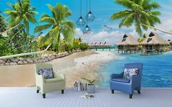 3d Log Cabin Ocean Holiday Wallpaper Wall Mural Removable Self-adhesive Sticker
