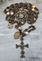 Virgin Mary Sacred Heart Miraculous Ruby Pearls Ornate Antique Style Rosary