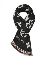 Louis Vuitton Authentic New Crafty Black Ivory Wool Shawl Scarf Limited Ed.