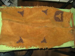 Vintage Childrenand039s Western Cowboy Leather Chaps Excellent Condition