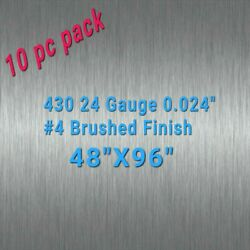 10pc 48 X 96 430 Stainless Steel Sheet Wall Covering, 24 Gauge 0.024