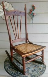 Antique 1800's Illinois Pioneer Oak Caned Sewing/nursing Rocking Chairvery Rare