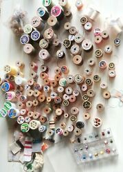 Lot Thread And Wood Spools 114+ Sewing Lot Belding Corticelli Silk 3.6 Lb