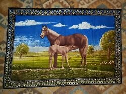 Vintage Horse And Foal Tapestry Wall Hanging Made In Belgium 38 X 56 Large