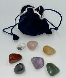 7 Chakra Stones Crystal Set Velvet Pouch Description Card 7X Healing Crystals $8.95