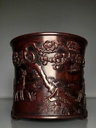 6.1antique Old China Xuande Mark Bronze Hand Carved Sheep Flower Brush Pot