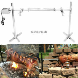 Stainless Steel Big Grill Rotisserie Spit Roaster Rod Charcoal Bbq Pig 15w Motor