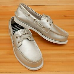 Sperry Top Sider Leather Girls Unisex Silver Loafer Boat Shoes Size 2.5 M NIB $23.19
