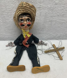 Vintage Mexican Folk Art String Puppet Guns Marionette 1960and039s Sombrero Rare