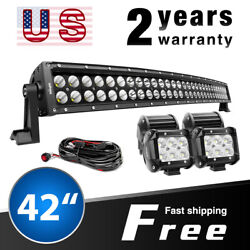 Nilight Curved 42 Led Light Bar Spot Flood Combo 4x 4 Pods Offroad Truck 4x4wd