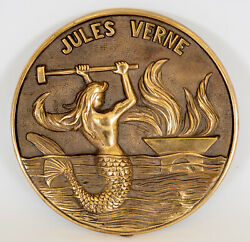 Nautical Brass Plaque Off The Jules Verne French Naval Ship - Active 1970-2009