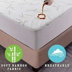 Bamboo Mattress Protector Hypoallergenic And Breathable Waterproof Mattress Cover