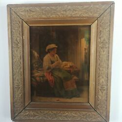 Antique French 19th Century Oil Painting Of A Lady By Celestin Joseph Blanc 1870