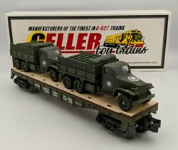 Geller Toy Trains Usax Gmc Duce And Half Limited Us Army Flat Car O Scale 0-027