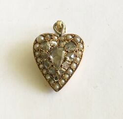 Antique Early Victorian 14k Rose Cut Diamond And Pearl Heart Drop/charm