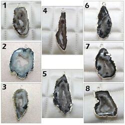 Brazilian Natural Geode Slice Druzy Silver Plated Connector Charm Making Jewelry