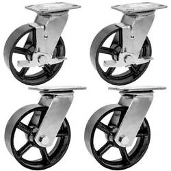 4 Pack Combo 6 Vintage Caster Wheels Black Iron Casters 2 Plate And 2 W/brake