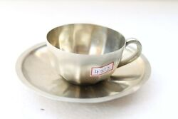 Vintage Old Hand Crafted German Silver Coffee Tea Cup And Saucer Decorative Nh4312